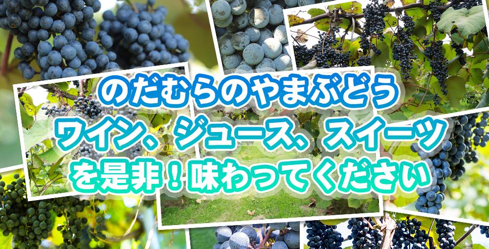 野田村の山ぶどうワイン、ジュース、スイーツを味わう