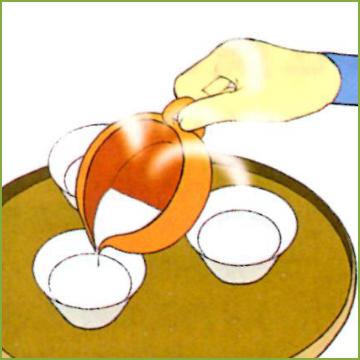 2.お湯の量を量りながら適温に冷ます。