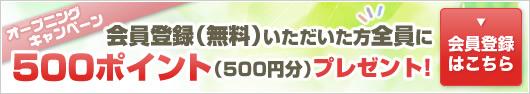 オープニングキャンペーン 会員登録(無料)いただいた方全員に500ポイントプレゼント!