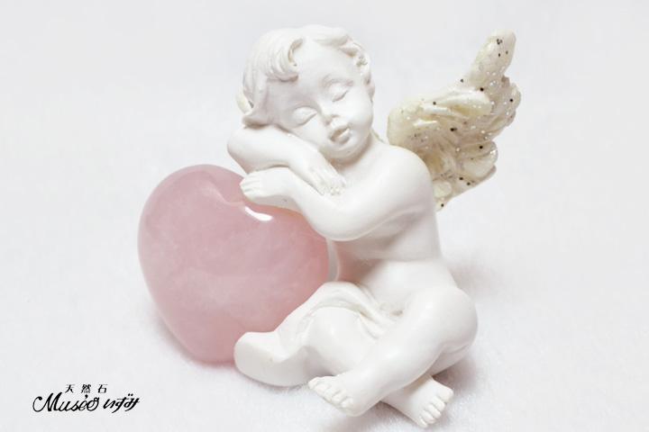 愛の天使 キューピット ローズクォーツハート付き