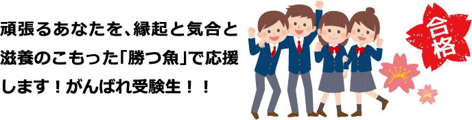 頑張るあなたを、縁起と気合と滋養のこもった「勝つ魚」で応援します!がんばれ受験生!!