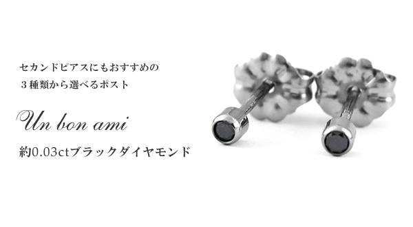 チタンピアス ブラックダイヤモンド 合計約0.06ct