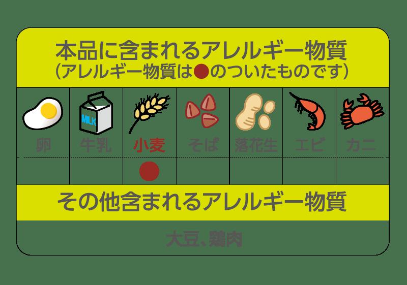 本品に含まれるアレルギー物質は、小麦、大豆、鶏肉です。