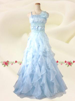爽やか水色 シフォンのロングドレス / 演奏会 ラミューズドレス通販