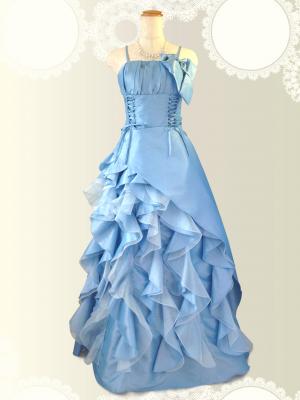 リボンの編み上げロングドレス 水色/ 演奏会 ラミューズドレス通販