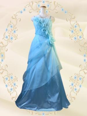 優美な薔薇のロングドレス ライトブルー/ 演奏会 049