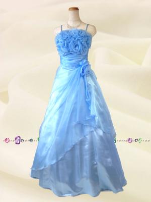 薔薇のカラードレス 水色 ラミューズドレス通販