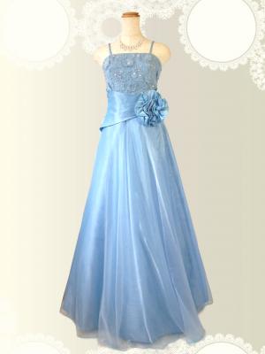 お花の刺繍 水色のロングドレス / 演奏会 ラミューズドレス通販