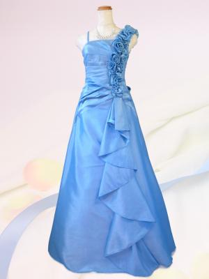 薔薇とフリル 水色のロングドレス / 演奏会 ラミューズドレス通販