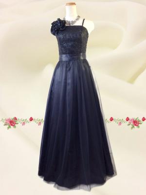 Lサイズ チュール刺繍ロングドレス  ブラック/ 演奏会 ラミューズドレス通販