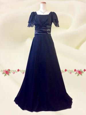シンプルブラックのシフォン袖ドレス 0395 /黒 演奏会 ラミューズドレス通販