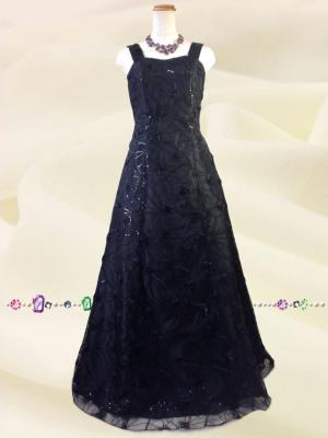 【LLサイズ】総刺繍ブラックロングドレス /091/ オーケストラ 伴奏 演奏会 ラミューズドレス通販