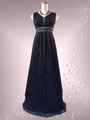 エンパイアライン 黒のロングドレス /演奏会 ラミューズドレス通販