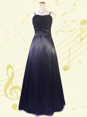 ソフトフラワーのサテンロングドレス ブラック/0296演奏会 ラミューズドレス通販