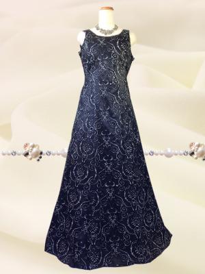 【大きいサイズ3L】華やかブラックロングドレス・ショール付 0206/ 演奏会 ラミューズドレス通販
