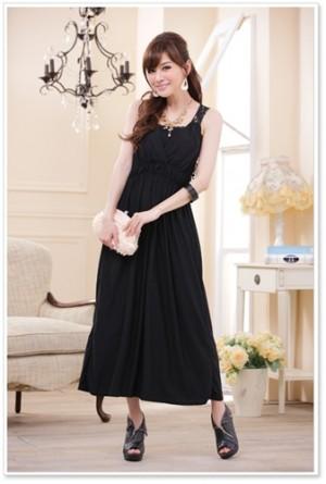 【Lサイズ】ブラック☆ノースリーブロングドレス 9602ラミューズドレス通販