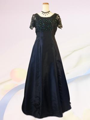 大きいサイズ3L エレガントブラック 袖付きロングドレス ラミューズドレス通販