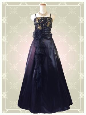 Belleブラック ロングドレス 0310 演奏会 ラミューズドレス通販