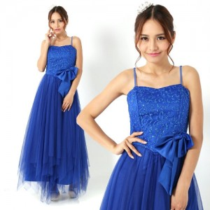 小さい方におススメ♪姫ロングドレス ブルー066/ 演奏会 ラミューズドレス通販