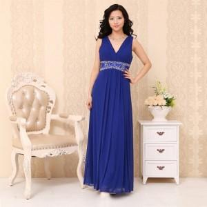 ルナ・ブルーのロングドレス ノースリーブ0210/ 演奏会 ラミューズドレス通販