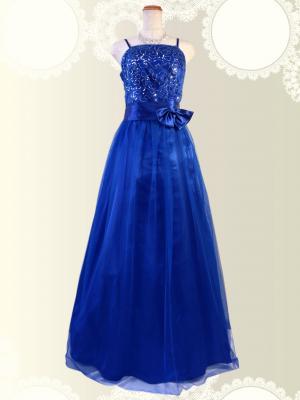 【大きめサイズ】初めての一着に♪ベーシック演奏会ドレス ブルー 0219/ ラミューズドレス通販