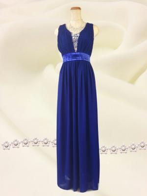 エンパイアライン ブルーのロングドレス /演奏会 ラミューズドレス通販