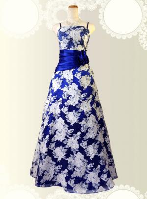 フローラルロングドレス ブルー0397 /演奏会・ラミューズドレス通販