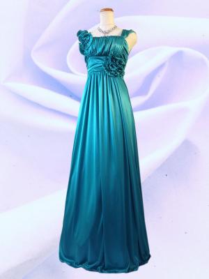 アシンメトリーロングドレス ノースリーブ グリーン 022/ 演奏会 ラミューズドレス通販