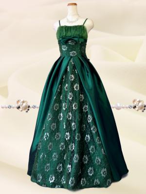 クラシカルプリンセス♪グリーンの ロングドレス 演奏会 ラミューズドレス通販