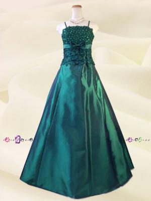 イタリアン・グリーンのロングドレス・ショール付き074/ 演奏会 ラミューズドレス通販