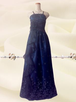 エンジェリック*チュールロングドレス 紫紺色 1943/ 演奏会 ラミューズドレス通販