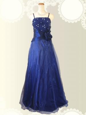 お花の刺繍 ネイビーのロングドレス / 演奏会 ラミューズドレス通販