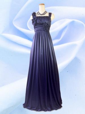 アシンメトリーロングドレス ノースリーブ ネイビー 022/ 演奏会 ラミューズドレス通販