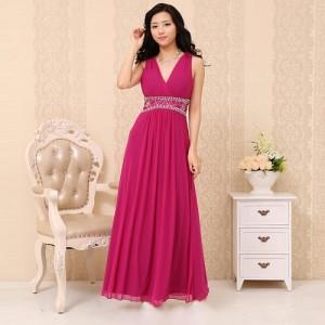 ルナ・ピンクのロングドレス ノースリーブ0210/ 演奏会 ラミューズドレス通販