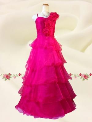 【Lサイズ】Pretty ティアードロングドレス 0395 /ピンク 演奏会 ラミューズドレス通販