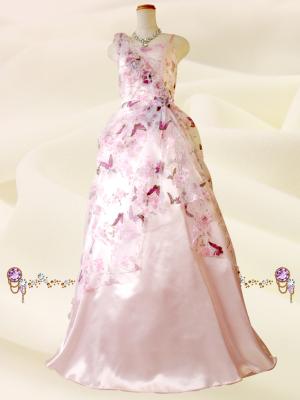バタフライピンクのロングドレス 046/演奏会・ラミューズドレス通販