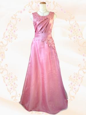 Winter ピンクのノースリーブロングドレス 050/ 演奏会 ラミューズドレス通販