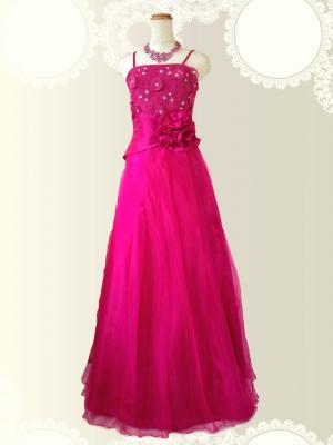 お花の刺繍 チェリーピンクのロングドレス / 演奏会 ラミューズドレス通販