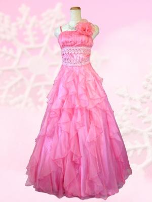 愛らしいシフォンピンク ロングドレス 演奏会 ラミューズドレス通販