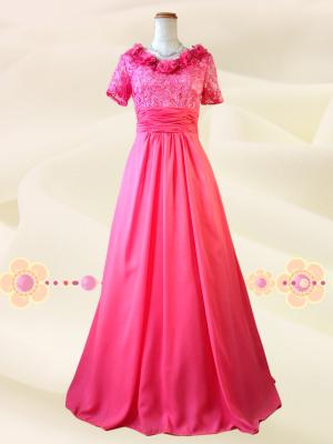 カメリアピンク 袖付きロングドレス 0396 /演奏会 ラミューズドレス通販