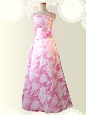 フローラルロングドレス ピンク 0397/ 演奏会・ラミューズドレス通販