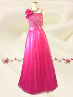 Lサイズ チュール刺繍ロングドレス  ピンク/ 演奏会 ラミューズドレス通販