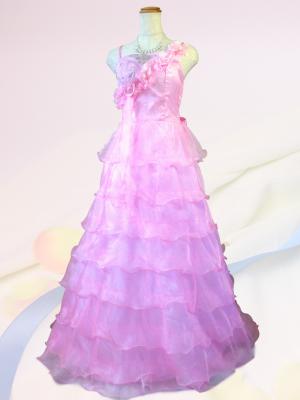 流れる華のロングドレス ピンク/ 演奏会 ラミューズドレス通販