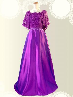 【Lサイズ】ミセス・パープルの袖付ステージドレス 0215 /演奏会 ラミューズドレス通販