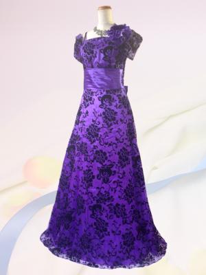 ドラマティックロングドレス 袖付き・パープル0209 / 演奏会 ラミューズドレス通販