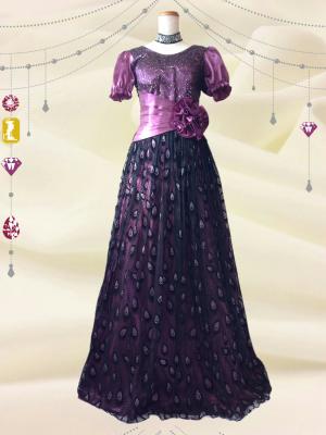 フェザーパープル*お袖つきロングドレス0197/演奏会 ラミューズドレス通販