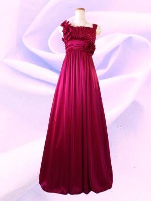 アシンメトリーロングドレス ノースリーブ レッド 022/ 演奏会 ラミューズドレス通販