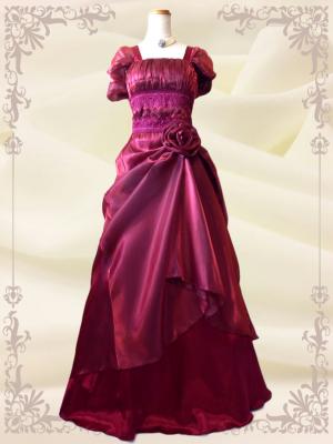 エリーゼドレス*ワインレッド 袖付き 演奏会用ロングドレス 0202