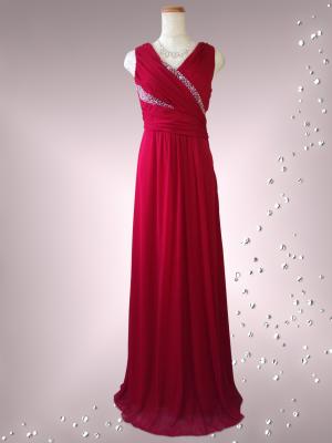流れるビーズ レッドのロングドレス ノースリーブ095 / 演奏会 ラミューズドレス通販