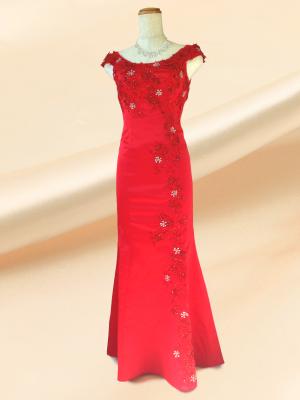 【Sサイズ】上品な刺繍マーメイドロングドレス♪赤 演奏会 ラミューズドレス通販